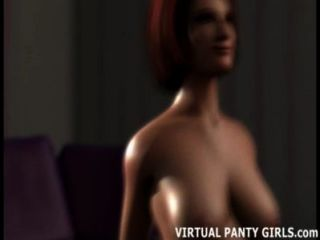 흥분된 3D 주부 그녀의 어린 이웃을 humping