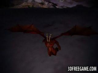 3d 빨간 머리 날개 달린 악마에 의해 심하게 망할 가져옵니다.