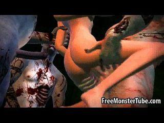 3d 만화 베이브는 일부 좀비들에게 폭력을 불어 넣다