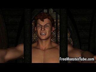 뜨거운 3D 빨간 머리 베이비 뱀파이어에 의해 열심히 엿 먹어
