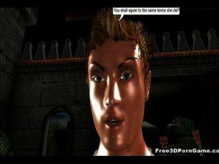 busty 3D 만화 엘프는 거시기를 엿 먹고 좆되다.