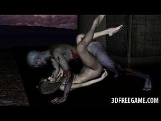 섹시한 3D 좀비 베이비가 그녀의 음부가 핥고 엿