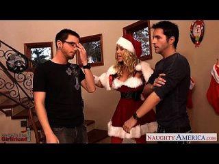 사랑스러운 산타 베이비 니콜 애니스톤 두 걸릴 데리고