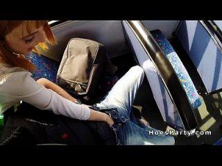 버스에 모르는 2 명의 아마추어 아가씨