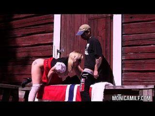 노르웨이 monicamilf 17 일 야외에서 빌어 먹을 수 있습니다.