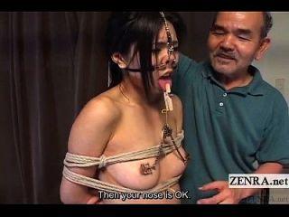 코 후크와 클램프 자막이있는 극한의 일본 bdsm