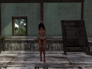 매춘부 노예가 벗겨지고 딱딱한 속박