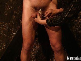 벽에 고정 된 숙녀 제니 고문 노예