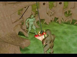 공주 혼자 숲에서 황폐 해지다.