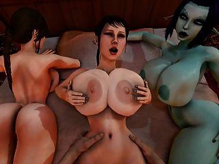 soria와 lara croft가 3d를 보면서 trishka는 좆된다.