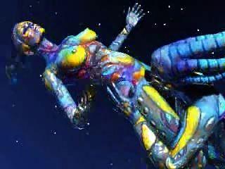 떠있는 우주 외계인이 우주에서 벗어났다.