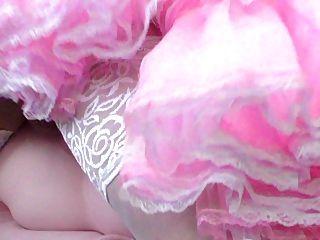 핑크 계집애 드레스에 시시한 씨발 인형