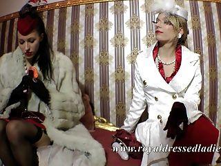 세련된 고전 레즈비언 숙녀 긴 여우 모피 새틴 드레스