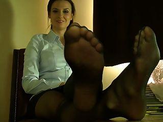 섹시한 나일론 다리와 다리