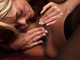 스테이시 사란이 굴러서 케샤 케인이 그녀를 핥을 수 있습니다.