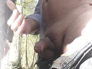 숲속에서 낯선 사람을 기다리고있다.