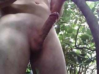 wanking 및 cumming 숲에서.