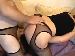 섹시한 팬티 스타킹에 아름다운 하얀 엉덩이 주부
