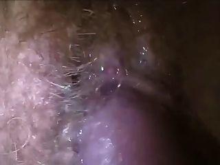 정액 털이 젖은 음부에 정액