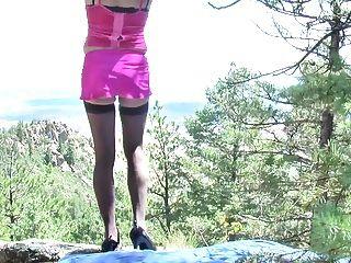야외 아마추어 CD 예쁜 핑크 쉬 메일 엉덩이
