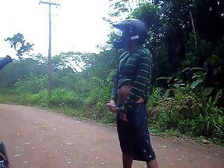 자전거 흔적에 공개 wanking