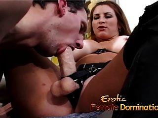 busty brunette starlet은 끈이 달린 흥분한 남자를 강타합니다.