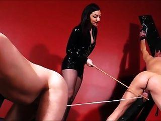 여주인 채찍, 지팡이 및 cbt 2 노예
