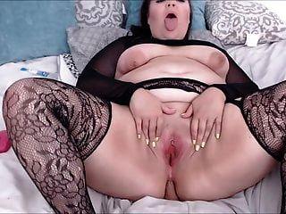 fishnet riding dildo의 섹시한 큰 엉덩이